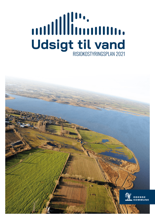 Luftfoto der viser en del af Odense Fjord