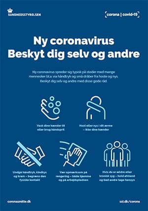 Billede af plakat fra Sundhedsstyrelsen om at beskytte sig selv og andre mod coronavirus COVID-19