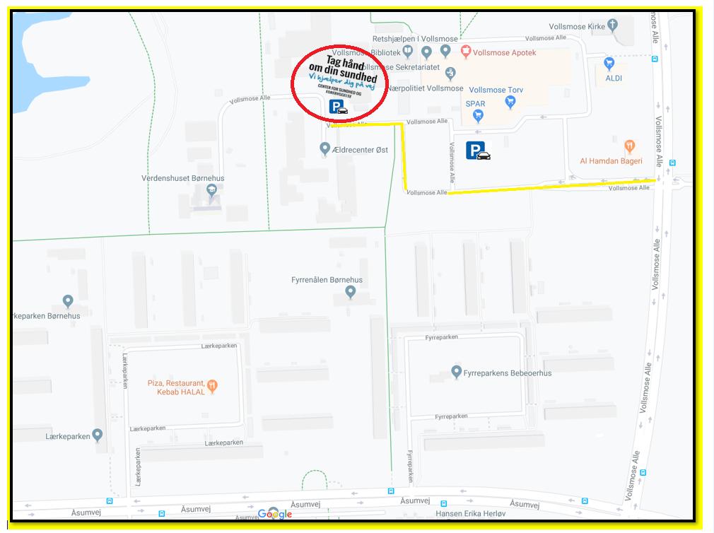 Kort der viser rute til og parkeringsmulighed ved Center for Sundhed og Forebyggelse