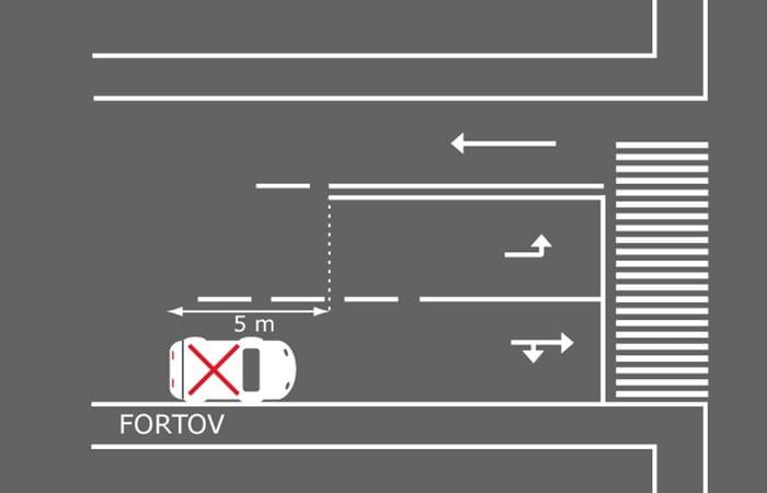 Billedet viser forkert parkering ved opmarchområde