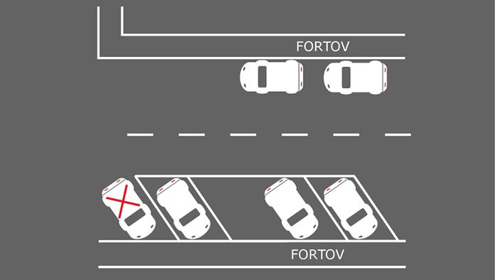 Billedet viser parkering ved opmærkning