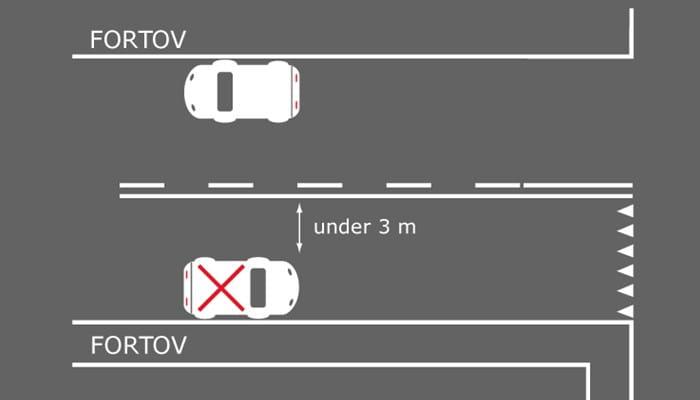Billedet viser korrekt parkering ved spærrelinje