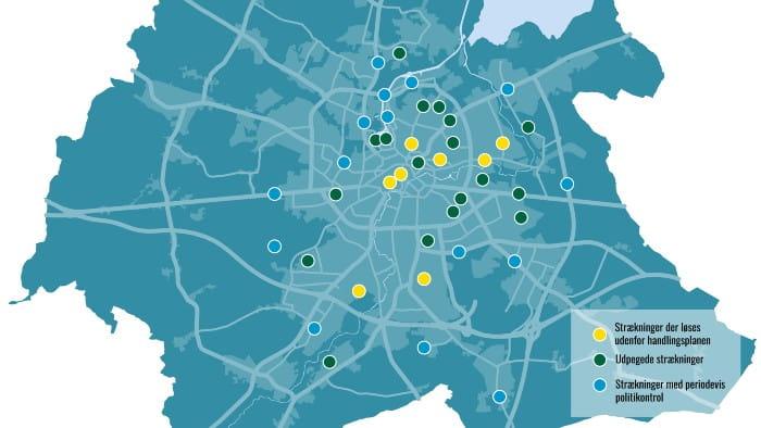 Billede af de 18 strækninger, hvor der skal laves tiltag mod vanvidskørsel