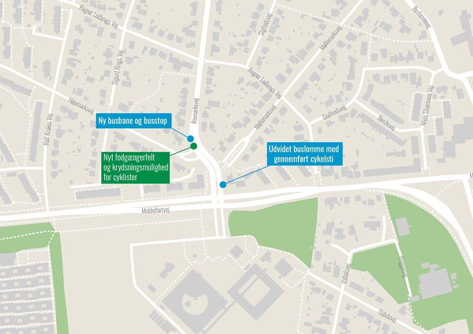 Nye stoppesteder på Rismarksvej