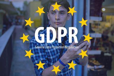 Billede med EU stjerner og GDPR tekst