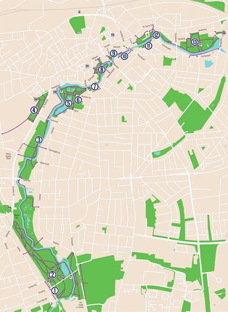 Se kort over legeruten langs Odense Å
