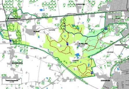 Kort over området ved Elmelund Skov