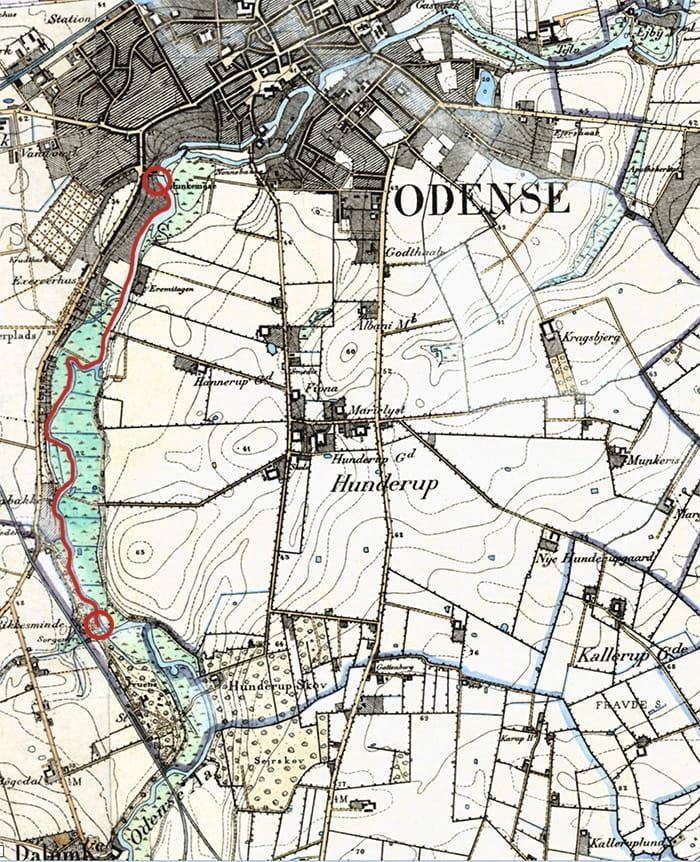 Kort over Odense Å