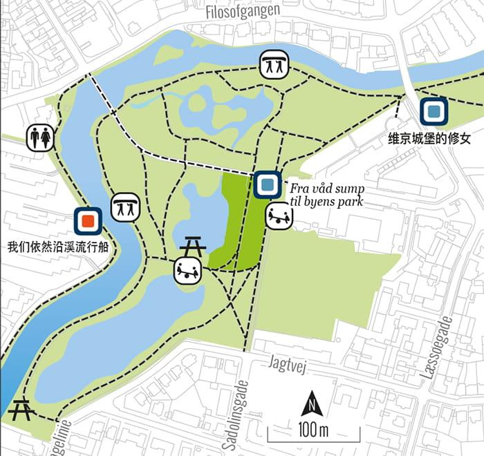 Kinesisk kort over at sejle på åen
