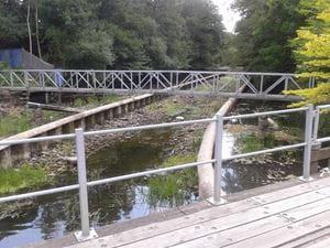 Foto: Det eksisterende stryg er placeret midt i vandløbsprofilet
