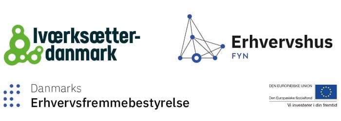 Logo for IværksætterDanmark, Danmarks Erhvervsfremme, Erhvervshus Fyn og EU