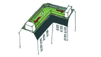 Skitse af bygning med elevatoradgang til taghaven