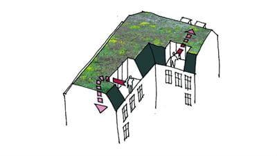 Skitse over ejendom der viser brandforhold