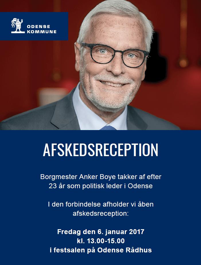Der bliver holdt åben afskedsreception for borgmester Anker Boye fredag den 6. januar 2017 kl. 13.00-15.00 i festsalen på Odense Rådhus.