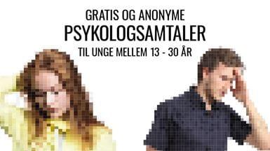 Gratis anonyme psykologsamtaler til unge mellem 13-30 år