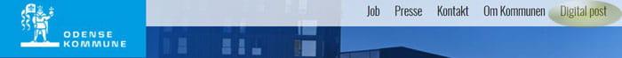 Billede af topfrisen på odense.dk med en rød ring om Digital Post knappen i øverste højre hjørne af sited